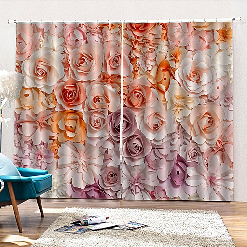 2Pcs Landscape Window Curtains