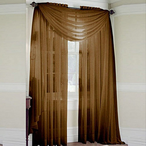Window Door Curtain Tulle Panel Drape Room Balcony Divider 100x200cm(Coffee)