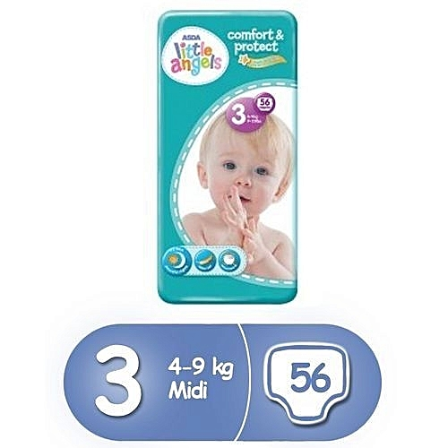 ASDA Little Angel Comfort & Protect Diapers, Size 3 (56 Count)