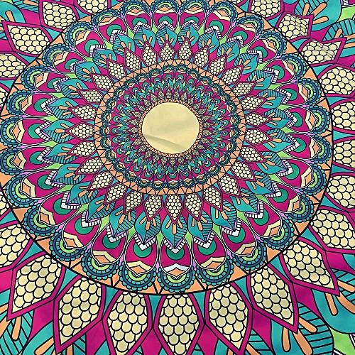 Muliawu Store Round Tassel Hippie Tapestry Beach Picnic Throw Yoga Mat Towel Blanket-Green