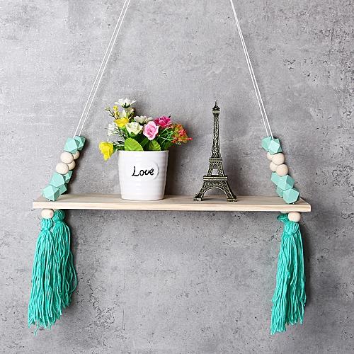 Wood Rope Swing Tassel Floating Wall Swing Shelf Hanging Storage Shelf Display
