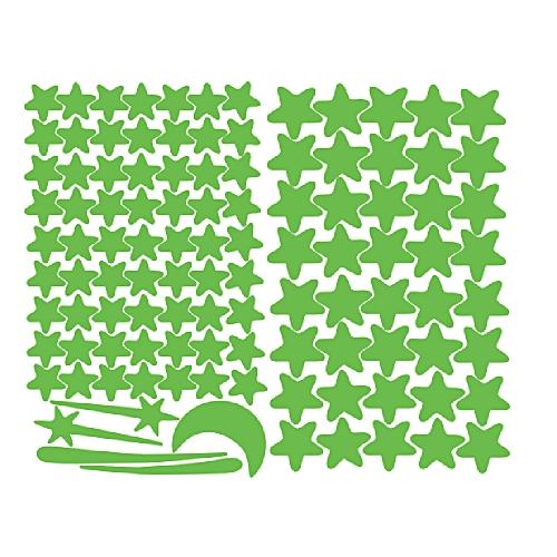 Glow In The Dark Star Wall Stickers 103Pcs Star Moon Luminous Kids Room Decor-Green
