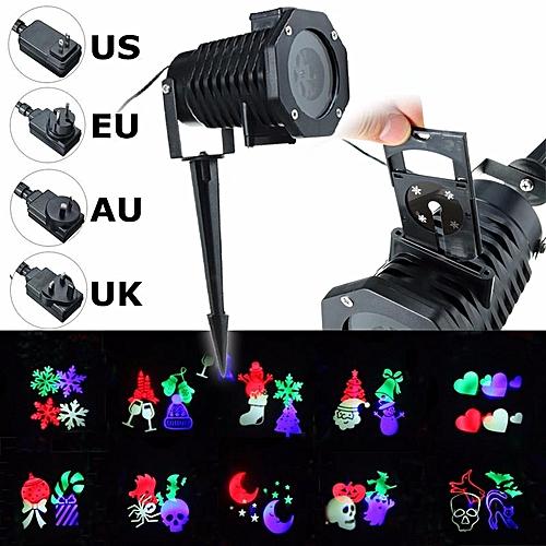 US Plug 10 Pattern Laser Projector Light Halloween Christmas Outdoor Garden Landscape US Plug