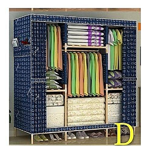 Elegant Mobile Wooden Wardrobe (3 Columns Multi Compartments)