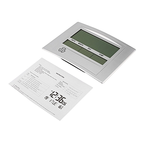 Self Setting Digital LCD Home Office Decor Wall Clock Indoor Temperature