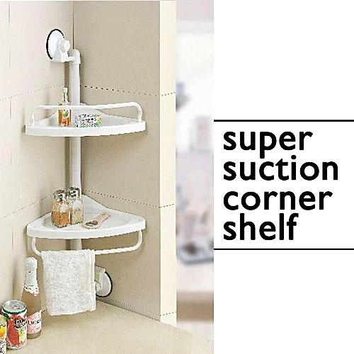 2 Layer Bathroom Bedroom Suction Corner Shelf
