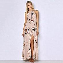 ac916b3cc4d 2018 Fashion Women Summer Sleeveless Dress Floral Print Halter Backless  Hollow Out Beach Maxi Gown Elegant