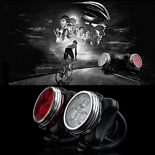 EYOYO Bicycle Bike 3 LED 4 Modes Head Front Rear Tail Light Lamp USB Rechargeable