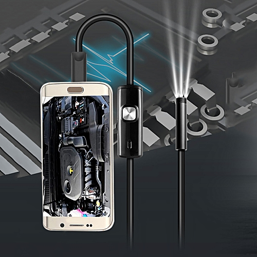 1m FS-AN02 Android Endoscope IP67 Waterproof With Inspection Snake Tube Camera - Black