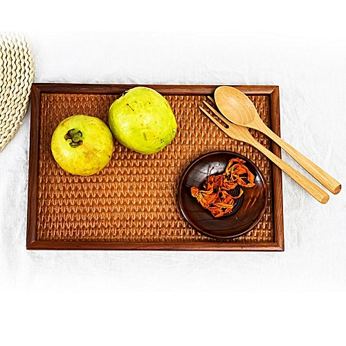 Rattan Basket Tray, Plate, Square Dish, Home Fruit Plate