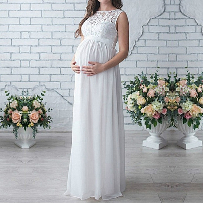 10f6a7b91ff Korean-style Pregnant Women Lace Long Maxi Dress Maternity Gown Photography  Props Clothes