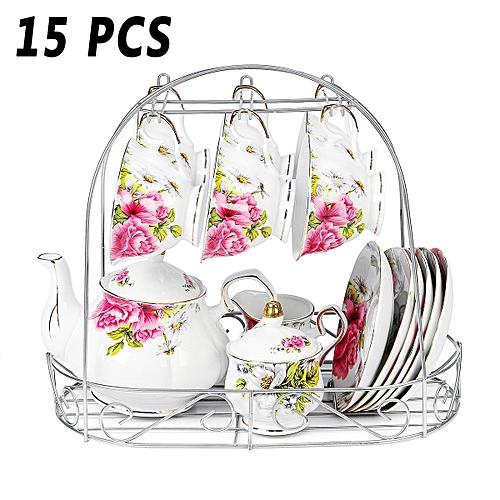 15pcs Fine Bone Porcelain China Pottery Elegant Coffee Tea Pot Cup Mug Set Gifts