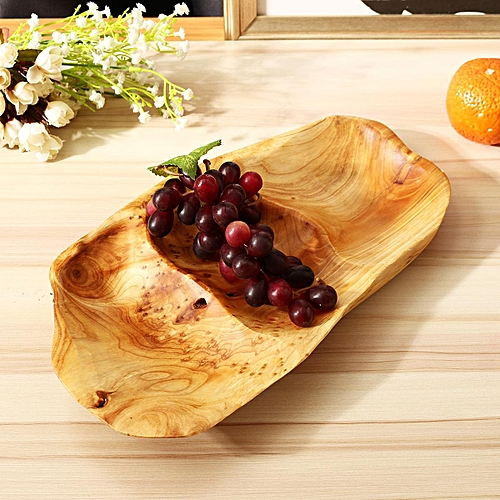 Natural Serving Tray Fruit Bread Plate Wooden Breakfast Dish Tea Bed