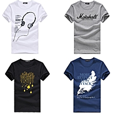 e97ef9b9 4 Pcs Men's Summer Fashion Cotton Short Sleeve Cartoon Printed Young  Men