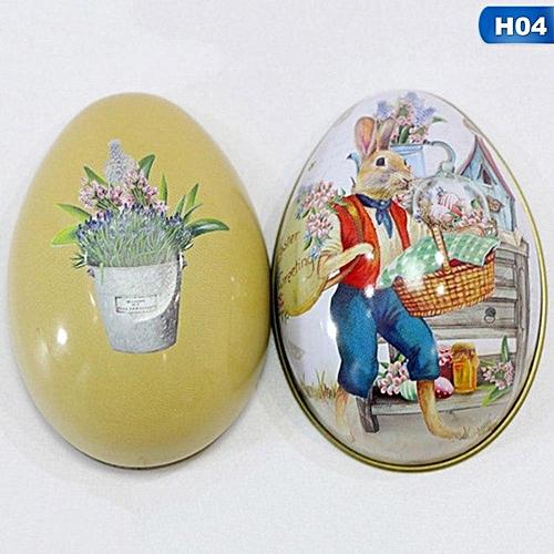 Benhongszy 1 PC Festival Supply The New Easter Egg Shaped Candy Tin Packaging Box Creative Wedding Birthday Children's Day Rabbit Pattern