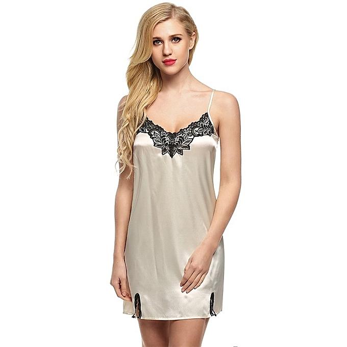 5d73b99a4c0 Ekouaer Hot Sale Women Nightgown Spaghetti Strap Sexy Satin Lace Splicing  Nightwear V-Neck Summer