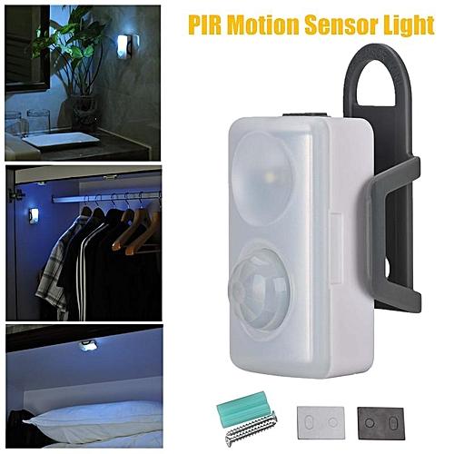 Battery Powered PIR Motion Sensor Mini Night Light LED Closet Cabinet Wall Lamp