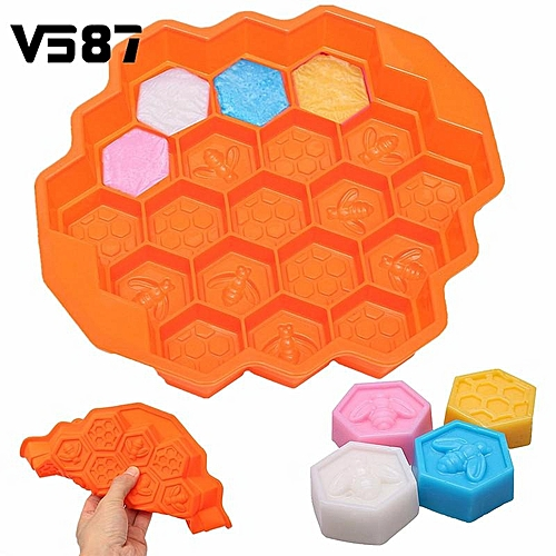 19 Cavity Silicone Bee Honeycomb Cake Chocolate Cookie Soap Candle Mold Mould