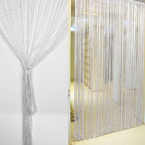 1*2m Encryption Flash Silver String Curtain Door Window Decor (White)