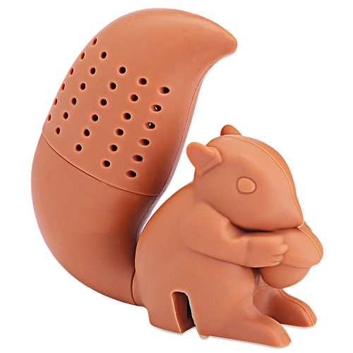 Lovely Novelty Silicone Squirrel Shape Mesh Tea Infuser Reusable Strainer Filter - Coffee