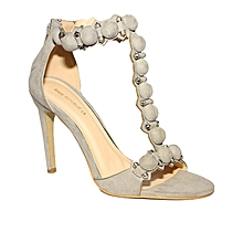 fe038c32fcf T-Strap Heeled Sandals With Buttons Design - Grey