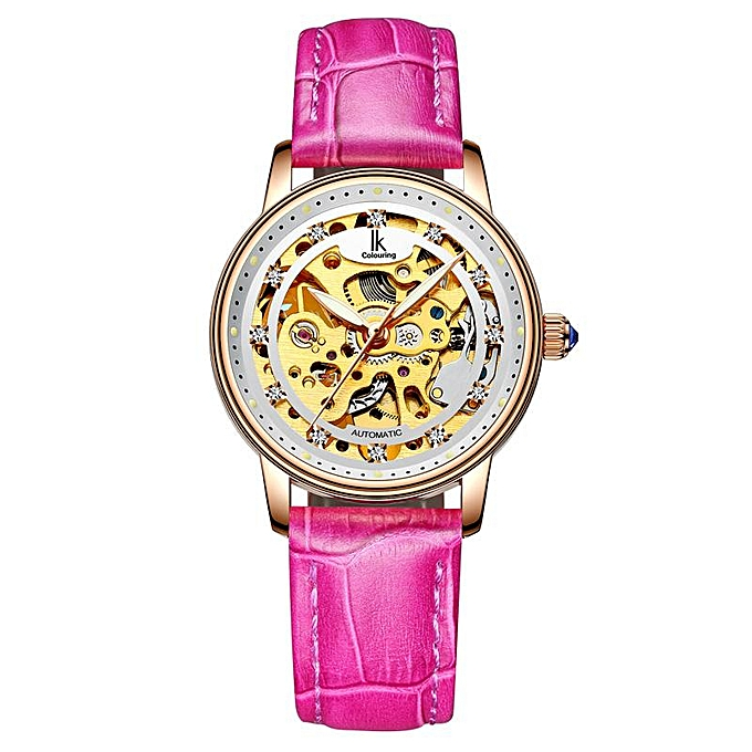 IK Colouring 4498 Female White Rose Gold Automatic Self-Wind Mechanical  Watches Women Genuine Leather Strap Skeleton Watch Fashion Ladies