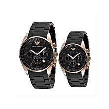 3de655d9f5b Men  039 s Black Round Stainless Steel Case WristWatc - Black ...