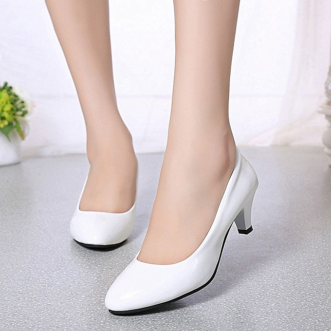 Nude Shallow Mouth Women Office Work Heels Shoes Elegant Ladies Low  Heel-White (EU Sizing)