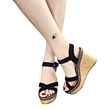 6f4e583691bd Hiaojbk Store Women Fish Mouth Platform High Heels Wedge Sandals Buckle  Slope Sandals-Black