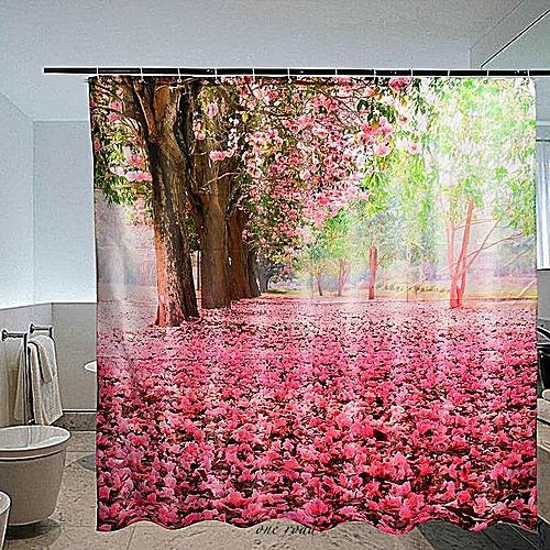 70x70'' 3D Pink Cherry Blossom Flower Shower Curtain Waterproof Bathroom+12 Hook