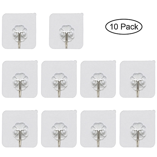 10pcs Waterproof Transparent Viscose Hook Household Kitchen Bathroom Reusable Adhesive Hook Without Mark Style:6 * 6 * 2CM 10 Boxes