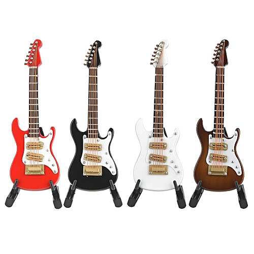 10 Cm Mini Classic Guitar Musical Instrument Model Wooden Electric Guitar Ornaments Basswood Crafts With Box Red Black White White Coffee