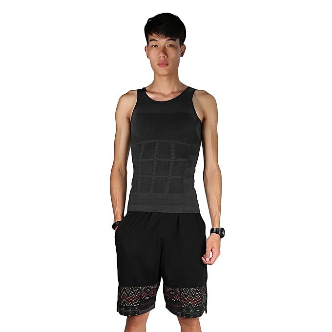 ccdffd8f7 Men Slim Body Shaper Belly Fatty Underwear Vest Shirt Corset Compression  Tops-gray