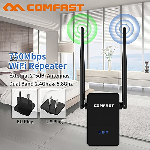 Wireless Wifi Extender 750Mbps Wifi Repeater/Router Dual Band 2.4&5Ghz Wifi Network Booster Long Range Antenna Signal Amplifier