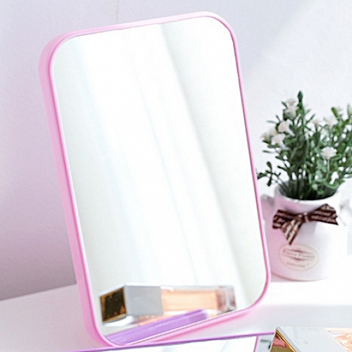 Folding Table Mirror Dressing Mirror Portable Makeup Portable Mirror Pink