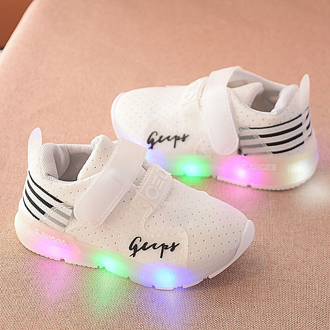 0d4477977dd White Autumn Toddler Sport Running Baby Shoes Boys Girls LED Luminous Shoes  Sneakers  - White