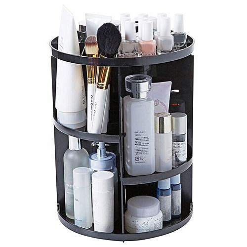 Cosmetic Storage Rack 360 Degree Rotating Round - Black