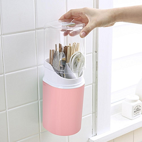 Wall-Mounted Chopsticks Holder With Cover Dust Chopsticks Tube Kitchen Drain Spoon Rack