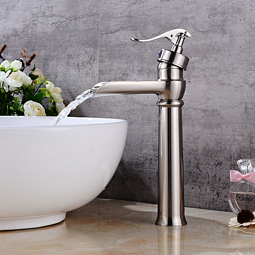 Drawing Waterfall Basin Faucet European Style All Copper Platform Basin