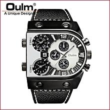 657d8025d6b Men  039 s Three Time Zones Quartz Wristwatch Luxury Brand PU Leather Watch  Big