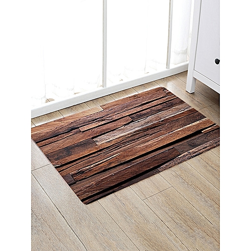 Joint Wood Board Pattern Non-slip Floor Area Rug - Deep Brown