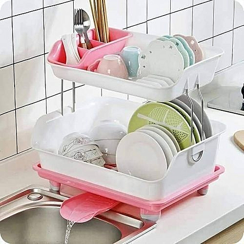 Dish Rack With Drainer(PINK)