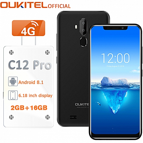 C12 Pro 6.18-Inch (2GB, 16GB ROM) Bluetooth Android 8.1,(8MP + 2MP) + 5MP 4G Smartphone With Case EU - Black