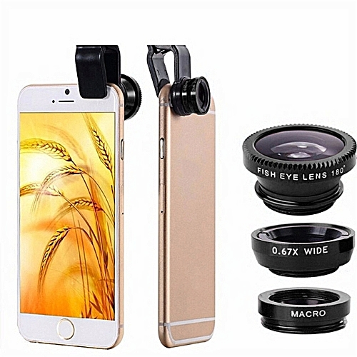 Mobile Phone Lenses Kit With Clip Fish Eye Lens - Black.