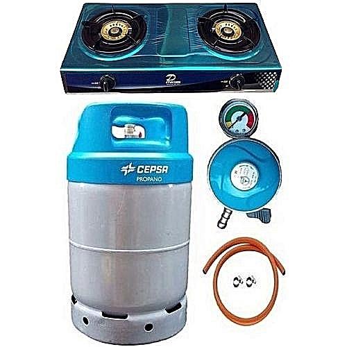 CEPSA12.5kg Cylinder+Cooker MeterRegulator HoseClip Blue Cap