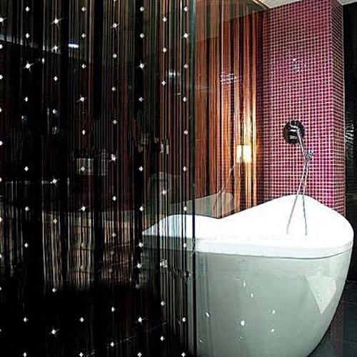 Watermalend Decorative String Curtain With Beads Door Window Panel Room Divider Black