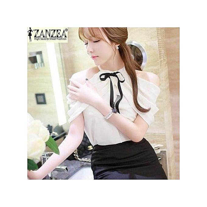 14f1962d8a7 ... ZANZEA Summer Style Women Halter Neck Bowknots Elegant Off Shoulder  Blouses Shirts Casual Slim Chiffon Tops ...