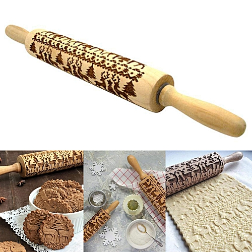 Embossed Wooden Rolling Pin Accessories Kitchen Tool Kobwa-Direct B
