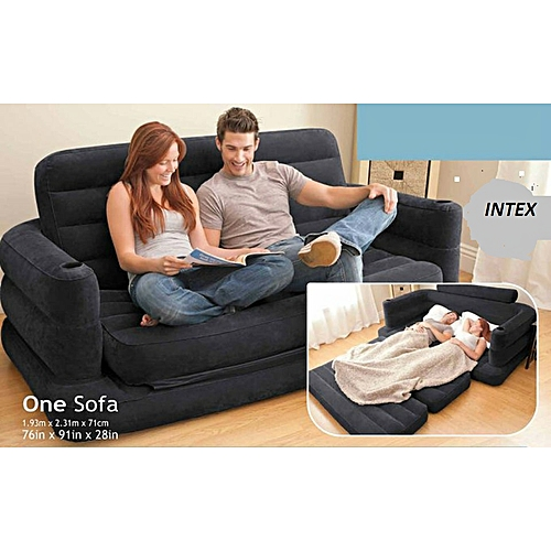 2 In 1 Inflatable Leather Pull Out Sofa And Queen Bed Mattress Sleeper