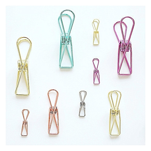Hollow Out Notes Metal Letter Multicolor Paper Binder Clips Folder Paper Clip DIY Marker 32 X 7mm